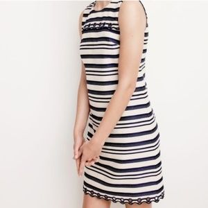 J. Crew Striped Scalloped Dress with Grommets